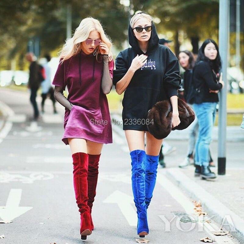 Fashion Week Black Blue Red Women Thigh Boots High Heel Velvet Over