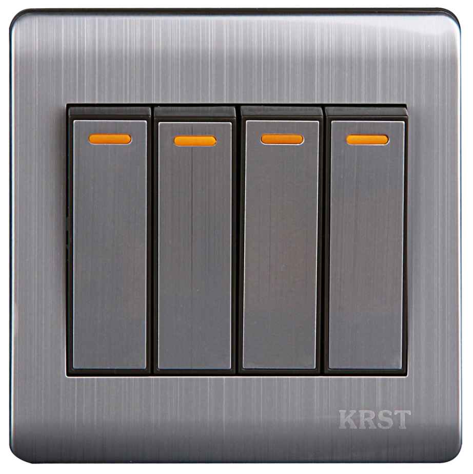 Wall Switch 4 Gang 2 Way 86Type Brushed Stainless Steel Switch Panel 10A AC110-250V high quality e9 series brushed stainless steel gold wall switch with fluorescence 4 gang 1 way single control switch panel