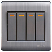 цена на Wall Switch 4 Gang 2 Way 86Type Brushed Stainless Steel Switch Panel 10A AC110-250V