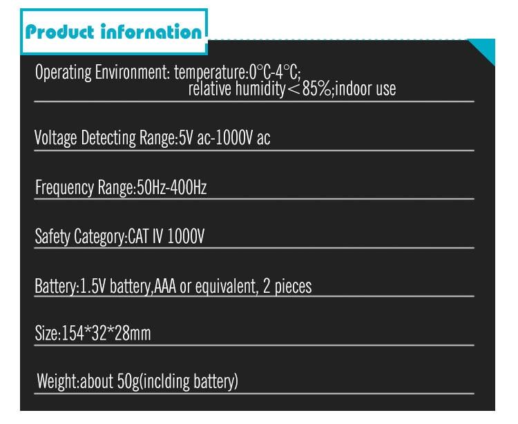 All Sun GK16 Non Contact Voltage Detector / Electric Pen 50Hz-400Hz AC 5V-1000V with Adjustable Sensitivity and Flashlight