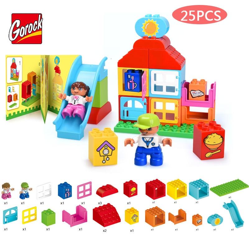 GOROCK 25PCS Kids Slide Amusement Park Model Large Size Building Block Slide Paradise Large Particles Brick Toy Compatible Duplo