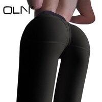 OLN 2 Cores Leggings De Fitness Mulheres Basculadores Calças Skinny Legging de Cintura Alta Calças de Treino Preto Verde Femme Y054