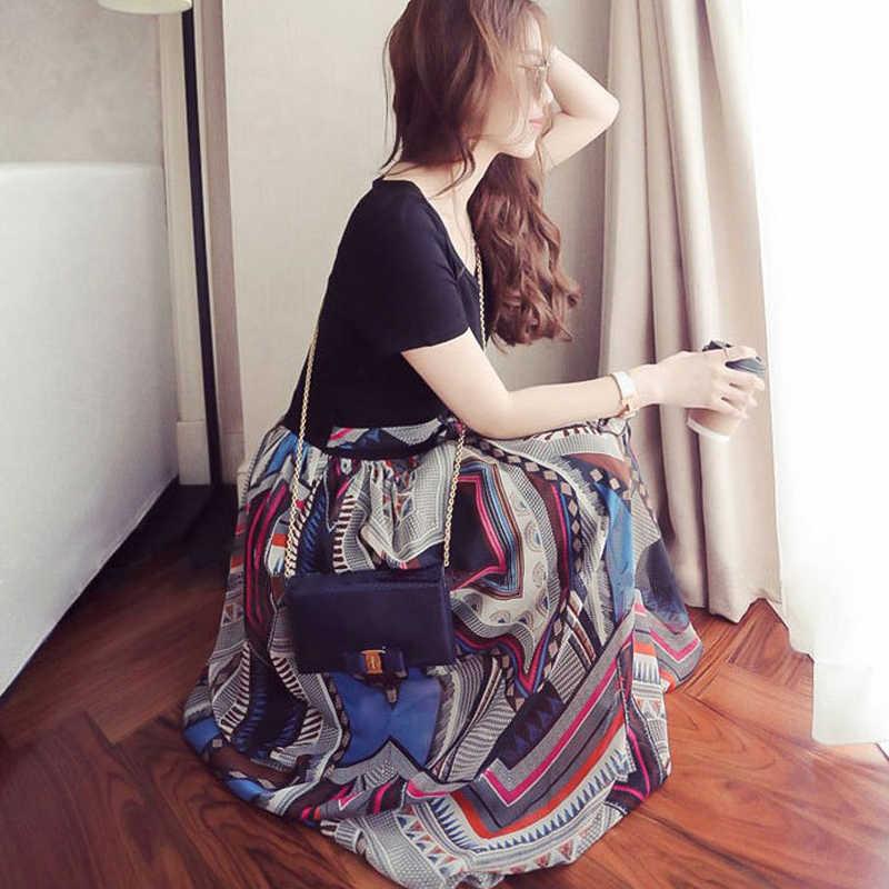 NEEDBO летнее платье повседневный комплект из двух предметов vestidos mujer шифоновое платье женское длинное платье до середины икры элегантное женское платье-майка