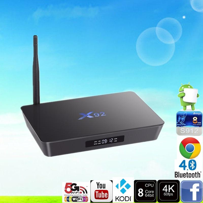 ФОТО Android 6.0 Smart TV Box Amlogic S912 OCTA Core CPU 16.1 X92 2GB / 16GB 5G Wifi 4K H.265 Set Top Box