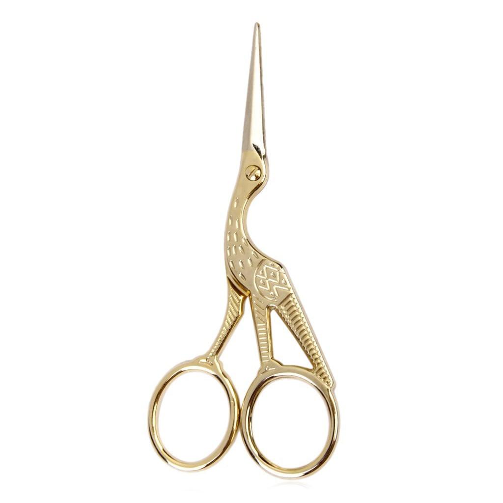 HOT-Retro Crane Sewing Scissors 11.5 Cm Golden
