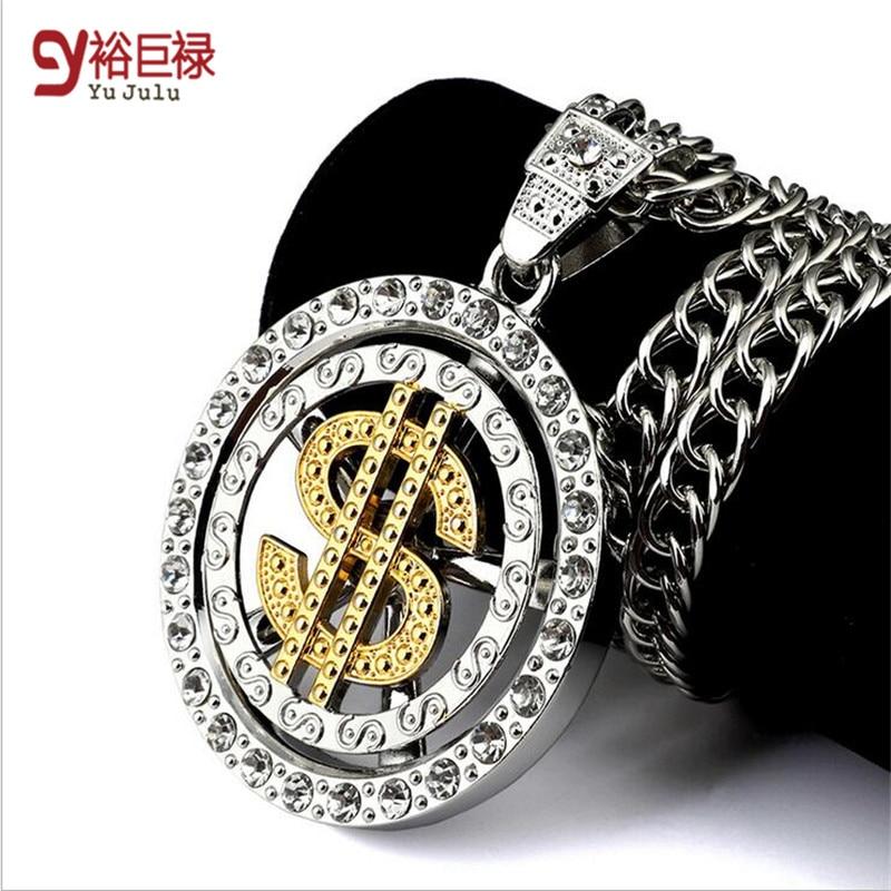 Hiphop moda Elegante do ouro colar apelativo para as mulheres homens Clássico estilo rotary dólar dólar maré hip hop jóias colares