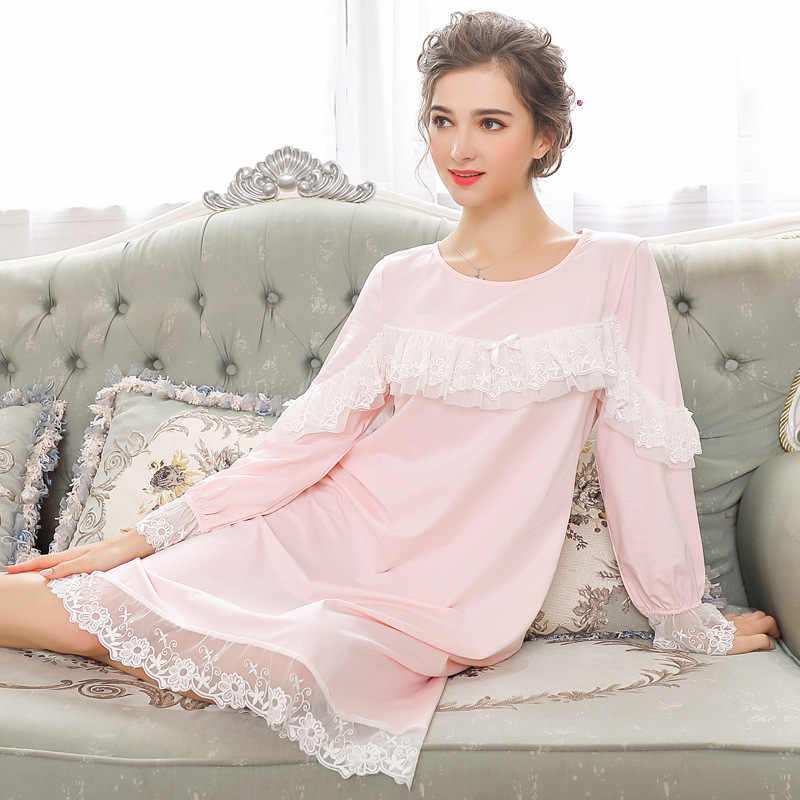 2019 Autumn Women Palace Style Lantern Sleeves Vintage Pink Solid Lace Nightgown Plus Size Sleepwear Lingerie Dress Ruffles