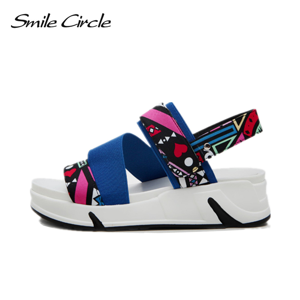 Smile Circle Summer Sandals For Women Shoes Fashion Flowers Flat Platform Sandals Casual Open Toes Shoes slipper gilr Sandals women creepers shoes 2015 summer breathable white gauze hollow platform shoes women fashion sandals x525 50