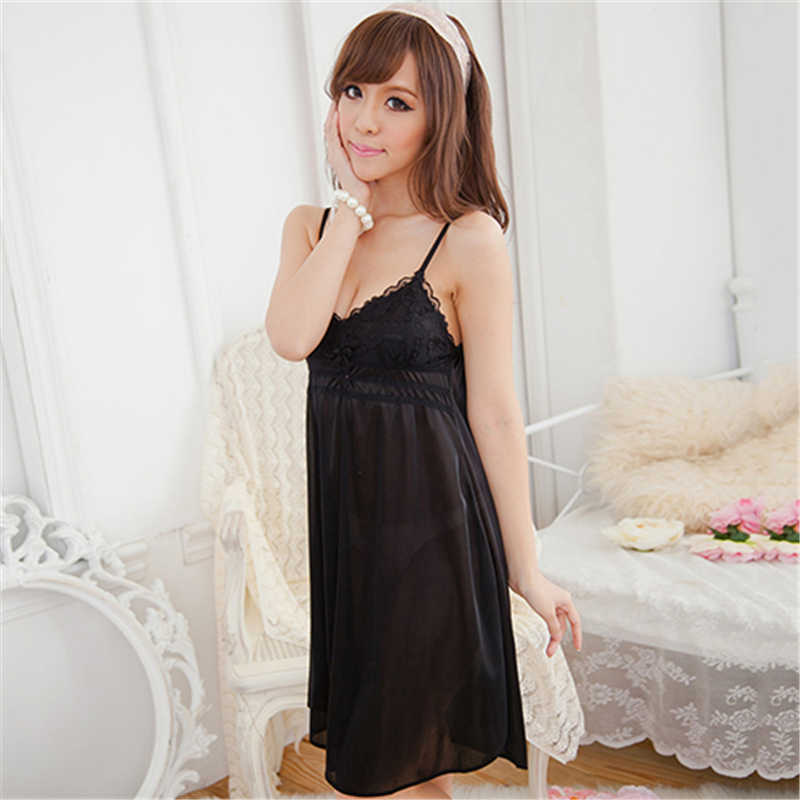 826a18f5f2 ... Women Sexy Lace Suspender Nightwear Sleepwear Robes Imitation Silk  Night Dress ...