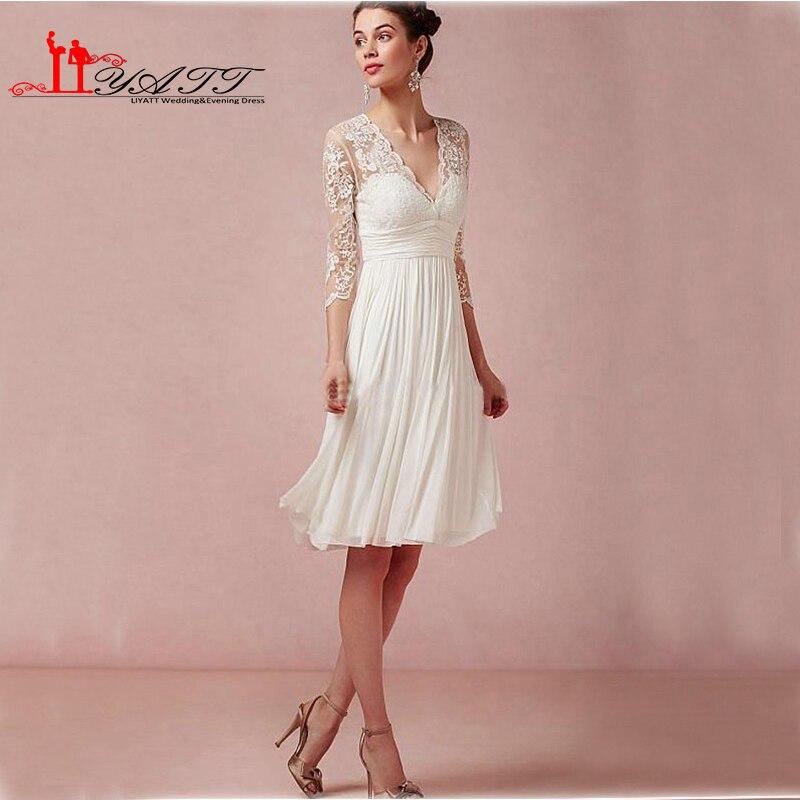 Sexy Short Wedding Dresses 2016 Beach Style Long Sleeve Lace Chiffon Bride Cheap Plus Size