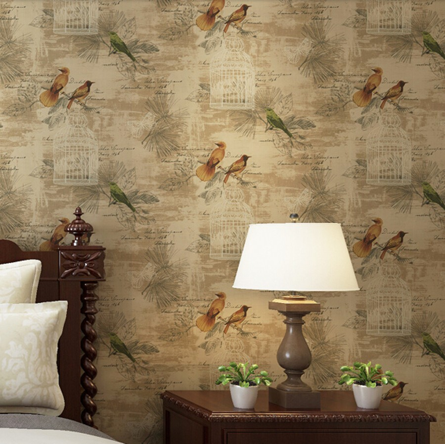 Beibehang Papel Parede Chinese Floral Birds Wallpaper Bedroom Tv Background Wall Covering Wedding Decoration For Home Decoration