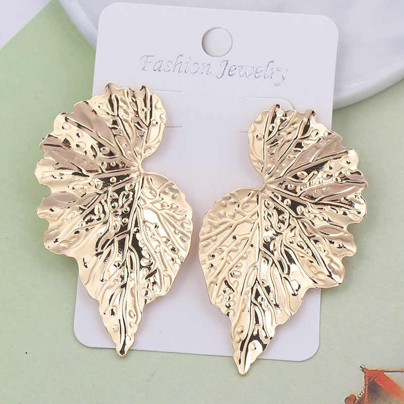 2019 Hot Fashion Wholesale Jewelry Metal Leaves Stud Earrings Feather Colorful Statement Earrings For Women Bijoux Gifts ES1016