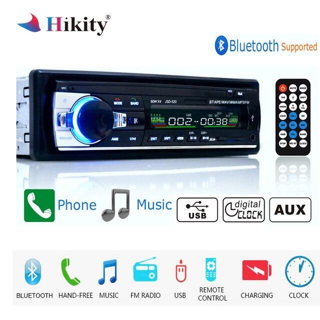 Autoradio Hikity 12 V JSD-520 1 din Jogador Som Do Carro Do Bluetooth Rádio Do Carro AUX-IN MP3 rádio FM Controle Remoto para áudio Do Carro Do telefone