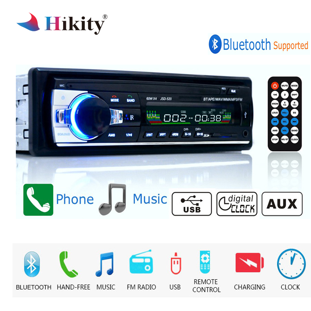 Hikity autoradio 12V JSD-520 Car Radio Bluetooth 1 din Car Stereo Player AUX-IN MP3 FM radio Remote Control for phone Car Audio все цены