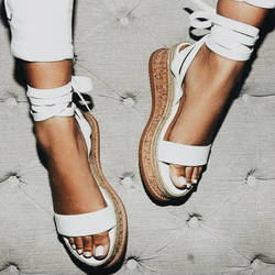 Женские сандалии с открытым носком летние босоножки на танкетке Туфли-Эспадрильи женские босоножки-гладиаторы Повседневное Босоножки на