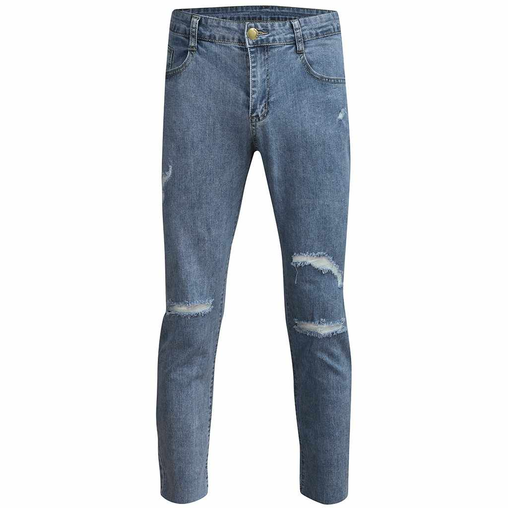 S-3XL moda męska na co dzień kieszeń na zamek błyskawiczny Slim Fit rozdrobnione długie dżinsy spodnie spodnie wysokiej jakości na co dzień podróży nastoletnich