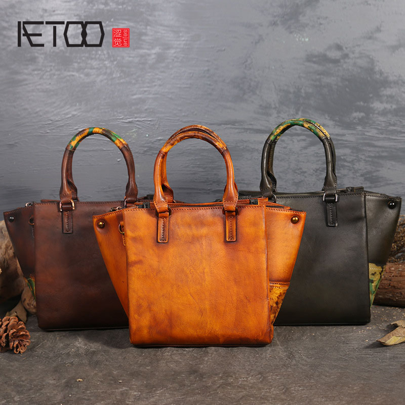 AETOO New original Guangzhou handbags retro first layer of leather bat bag leather shoulder bag handbags shanghai guangzhou 12 300mm