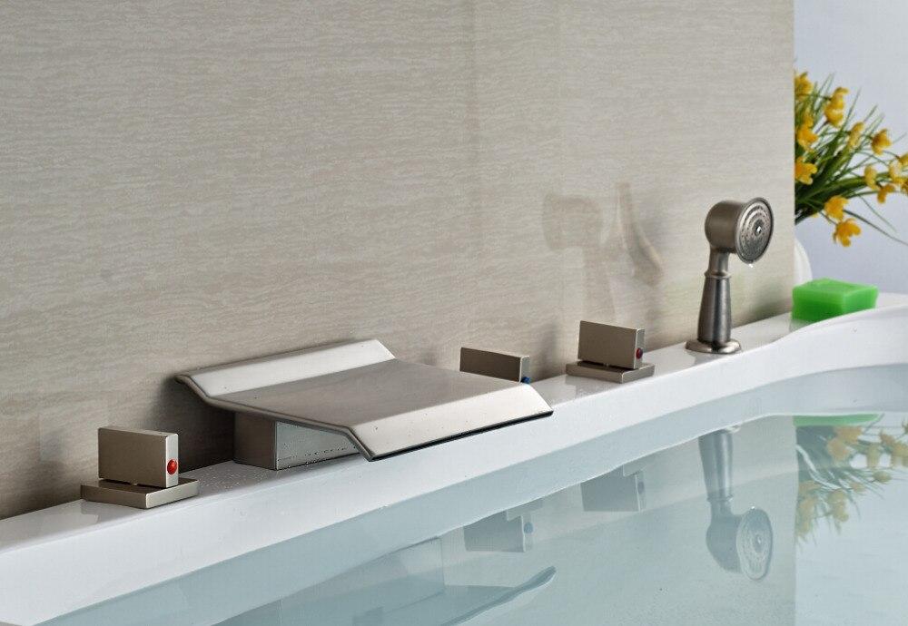 5pcs Deck Mounted Nickel Brushed Bathroom Waterfall Basin Faucet Sink Mixer Tap