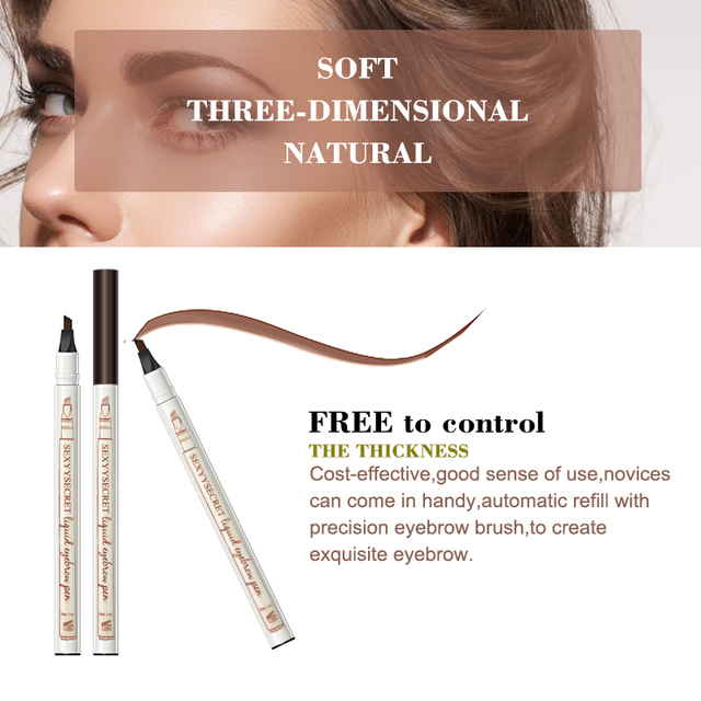Waterproof Natural Eyebrow Pencil Four Fork Eye Brow Tint Makeup Four Colors Eyebrow Pencil Brown Black Grey Brush Cosmetics 3