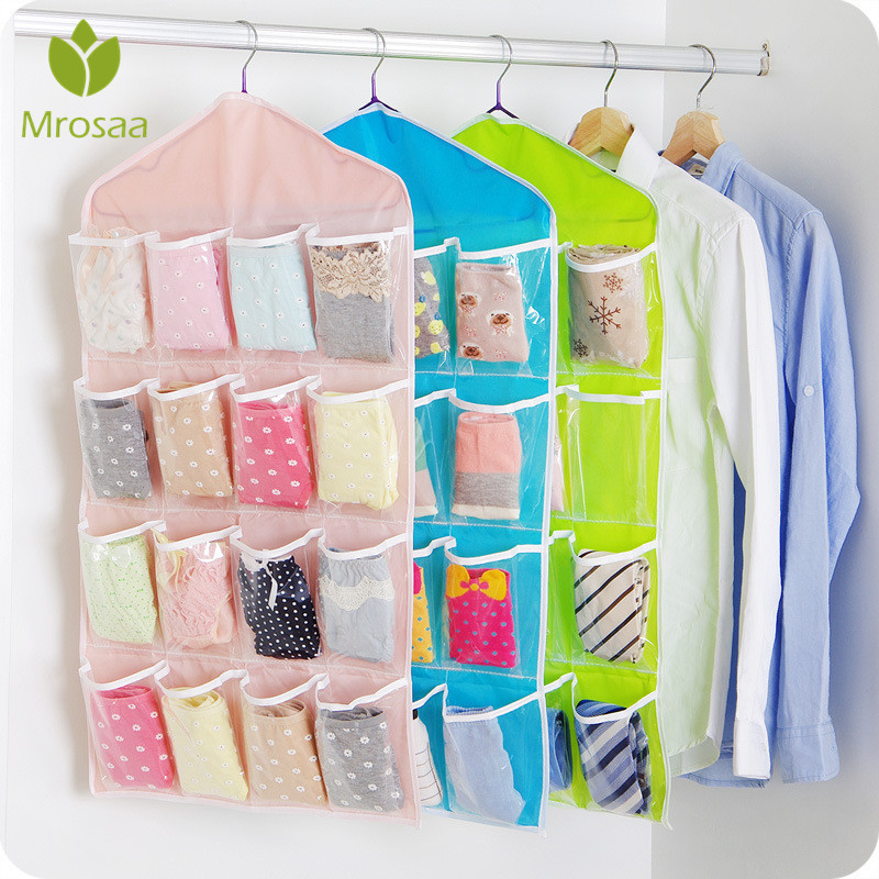New 16 Cells Home Multifunction Door Wall Hanging Organizer Closet Bag  Underwear Sorting Storage Bag Clothing Wardrobe Storage