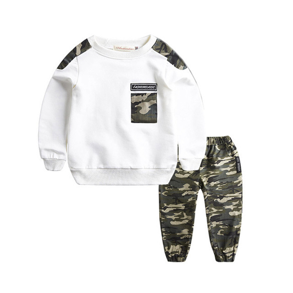 2019 New Summer Toddler Baby Girl Boys Printed Pockets Long Sleeve Tops Camouflage Printed Pants Tracksuit 2PCS Fashion Outfit