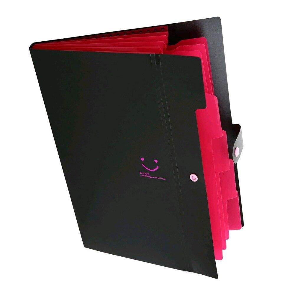 A4 Paper Carpetas Smile Waterproof File Folder Office File Document Bag Organizers Index Holder Card Holder Fastener 150 Sheets