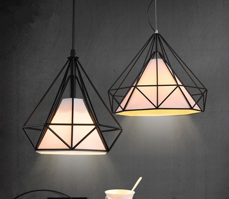 6 color modern black birdcage pendant lights iron minimalist 6 color modern black birdcage pendant lights iron minimalist scandinavian loft pyramid lamp metal cage with led bulb in pendant lights from lights aloadofball Gallery