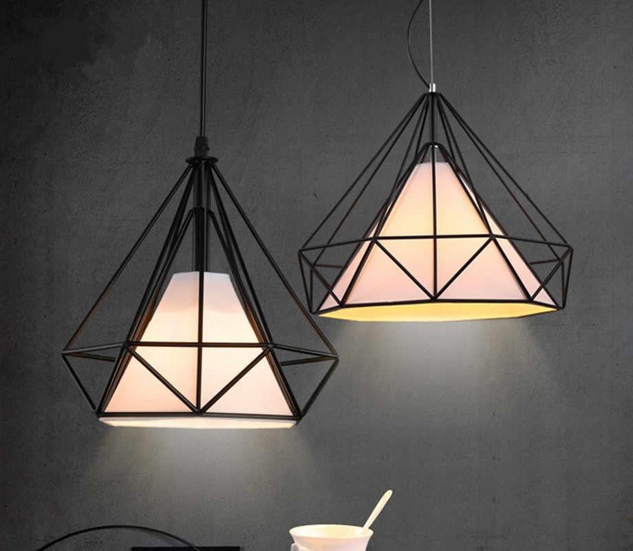 6 цветов Современная черная Клетка Подвесные светильники железная Минималистичная Скандинавская пирамидальная лампа в стиле лофт металлическая клетка со светодиодной лампой
