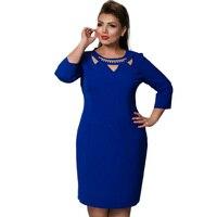 Plus Size 5xl 6xl Women Clothing Blue Red Elegant Bodycon Ukraine Dress 2017 Fashion Office Knee