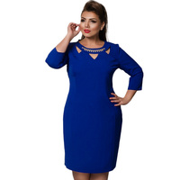 Plus Size 5xl 6xl Women Clothing Blue Red Elegant Bodycon Ukraine Dress 2017 Fashion Office Knee