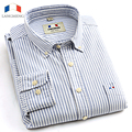 Langmeng 2016 Brand high quality casual shirts striped dress shirt men long sleeve oxford camisa masculina chemise homme