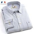 Langmeng 2016 Marca de alta calidad camisas sport a rayas camisa de vestir de los hombres de oxford de manga larga camisa masculina chemise homme