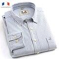 Langmeng 2016 Marca de alta qualidade camisas casual vestido listrado homens da camisa de manga longa oxford camisa masculina chemise homme