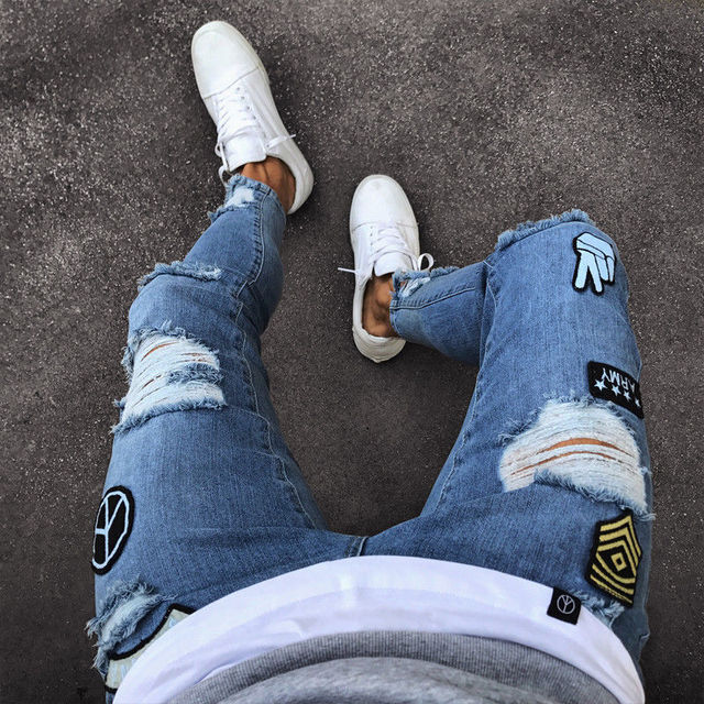 2018 Fashion Mens Jeans Fortnite Skinny Rip Slim Stretch Denim Distress Frayed Biker Jeans Boys Embroidered Pencil Trousers 3