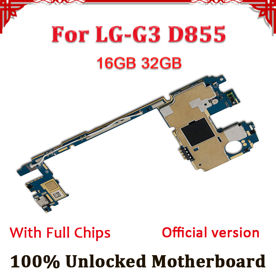 Disassemble For LG G3 Motherboard D855 16GB 32GB Factory Unlocked Mainboard For LG G3 D855 Board With Full Chips Android OS IMEI