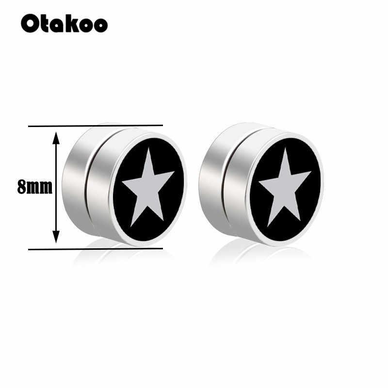 Otakoo звезда черный магнит круглый серьги из нержавеющей стали магнитные клипсы без пирсинга мужские ювелирные изделия