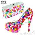 Mulheres Sexy Plataforma Bombas Dos Saltos Altos Sapatos de Casamento Sapatos Strass Cristais Coloridos Combinando Com Sacos De Italiano 14 CM 10 CM