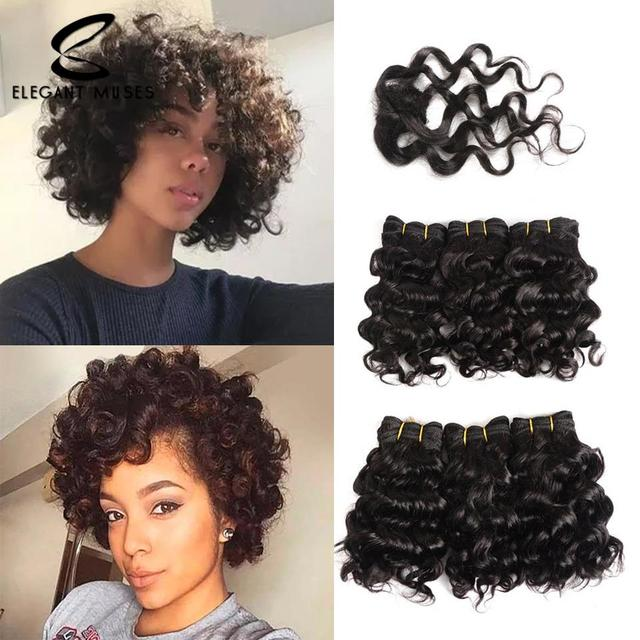 ELEGANT MUSES Brazilian Red Deep Curly Human Hair Bundles With Closure Non Remy Virgin Hair Weave Short Human Hair Extensions 8""