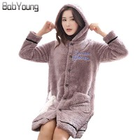 BabYoung Winter Cardigan Warm Pajamas Women Robes Flannel Long Sleeve Bath Robe Hoodies Sleepwear Female Bathrobe Mini Dress