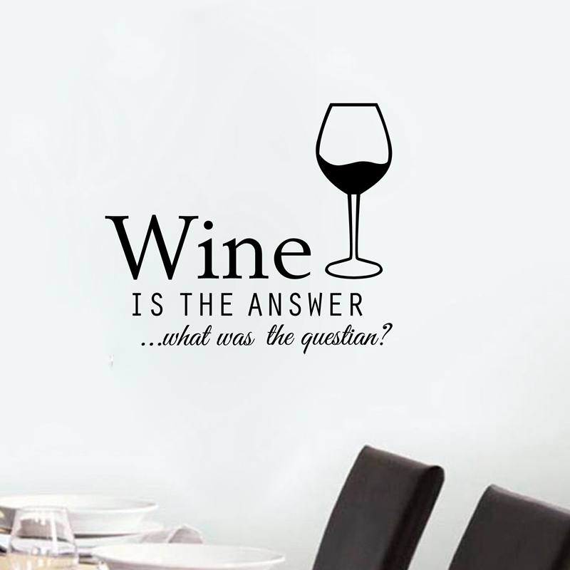 Free Shipping Funny Kitchen Stickers Wine Bar Decals Wallpaper for Wall Decor Vinyl Simple Hoom Decoration LW65