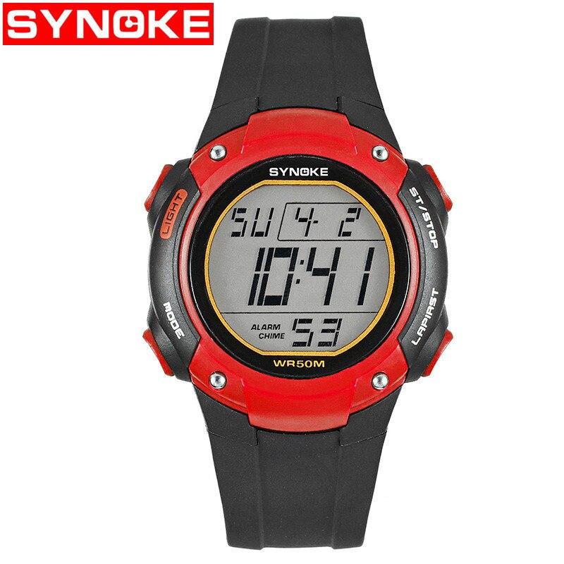 Synoke Спорт Цифровые наручные часы обратный отсчет времени Для мужчин Часы для мальчиков и девочек будильник Chrono 50 м Водонепроницаемый часы ч…