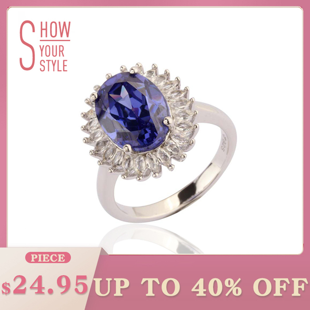 Tanzanite Silver Ring 9 carats Tanzanite For Women Party Silver Jewelry Clean Qu