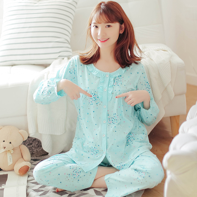 Full Sleeve MaternitySets Sleep&Lounge Mummy Lounge Breastfeeding Cotton pregnant women  ...