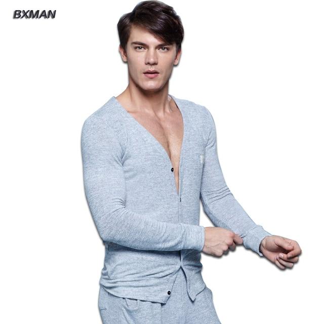 BXMAN Brand Men's High Quality Pijamas Hombre Casual Pajamas Sets Knit Cotton Solid V-Neck Full Sleeve Men Pajamas Sets 53