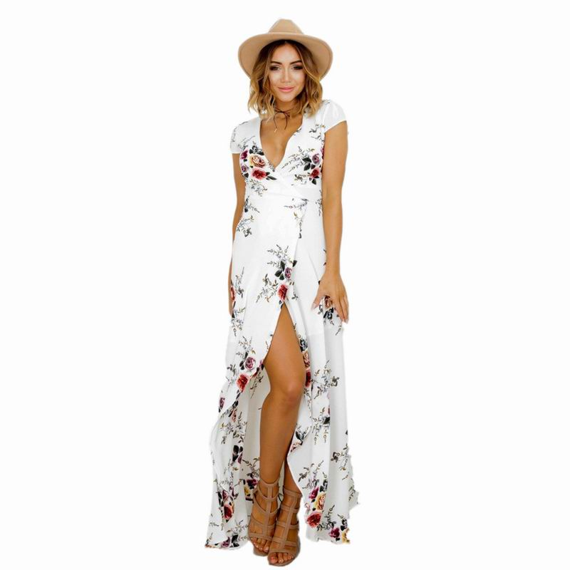 Buy Cheap Women maxi dresses on the beach loose sexy v-neck ladies Tropical dresses holiday Floral Prints Dresses 2017 new sundress RX1210