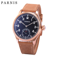 Original Parnis Watch Men Hand Winding Mechanical Watches Luminous Number Handsets Second Chrnograph Gold Men's Wrist Watch