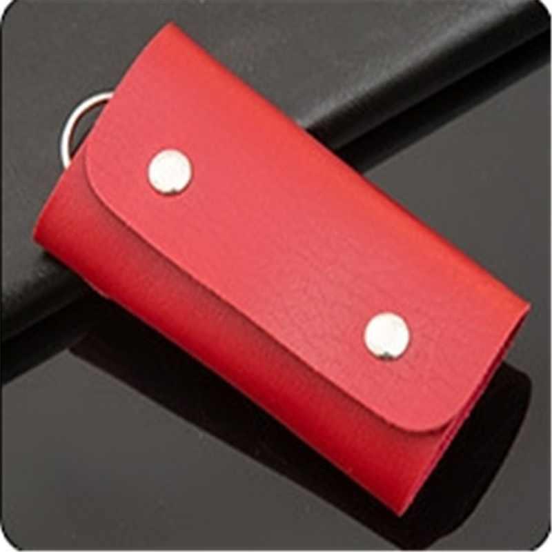 Vogue Utility PU de cuero de Color sólido ama de llaves organizador de llaves de la caja de la llave del coche carteras con llavero 3149