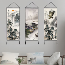 Chinese Landscape Mountains And Waters Painting Home Decor Wall Hanging Tapestry Cotton Linen Scroll with Tassels