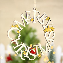 Merry Christmas Letters Hanging Ring Pendant Wooden Christmas Tree Hanging Ornaments Christmas Tree Pendant the hanging tree
