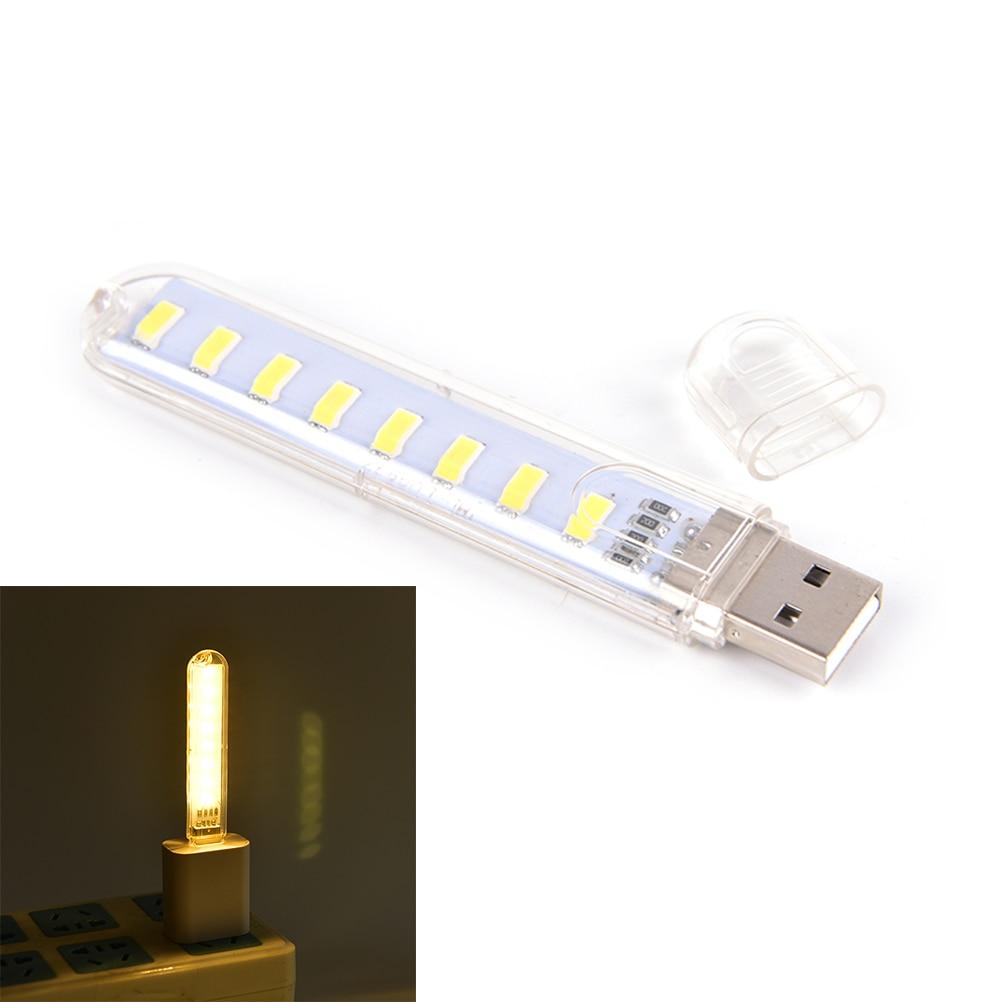 Portable Night USB Gadget Lighting For PC Laptop DC5V 8 LED Mini Mobile Power USB LED Lamp Camping Computer